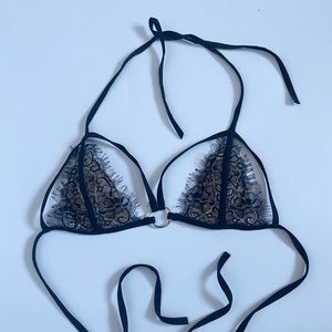 Cut Out Floral Eyelash Lace O-ring Bikini Top